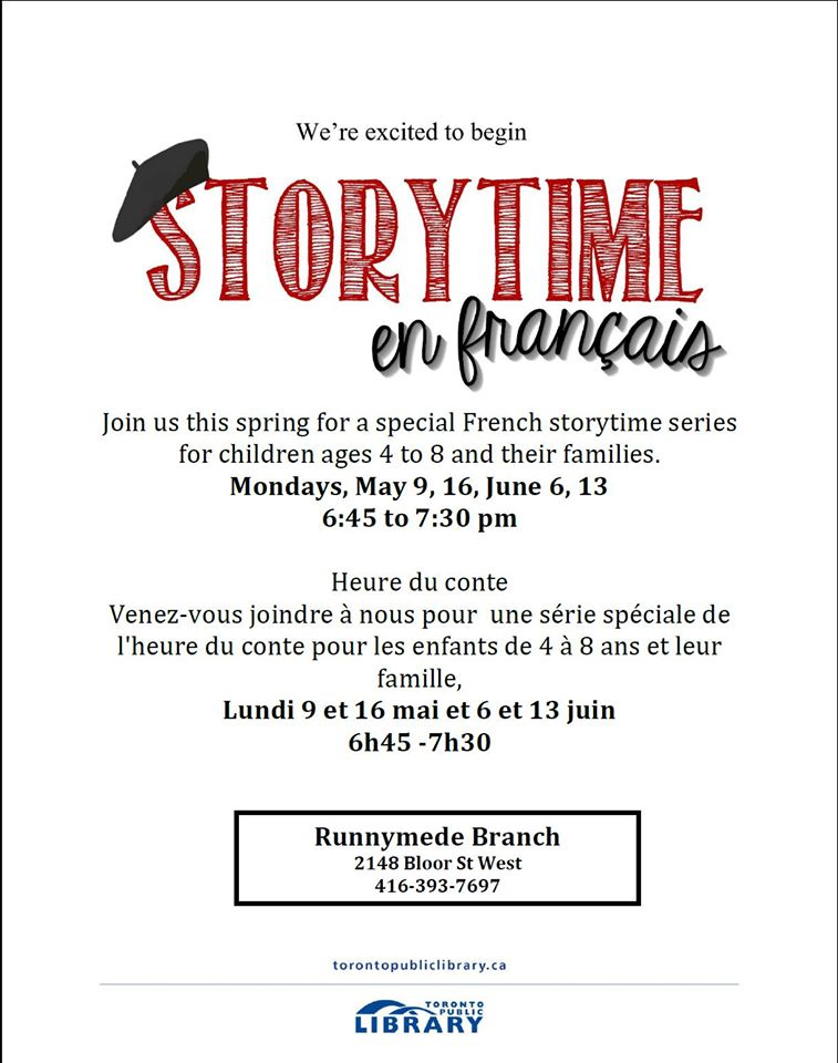 French Storytime @ Runnymede Public Library